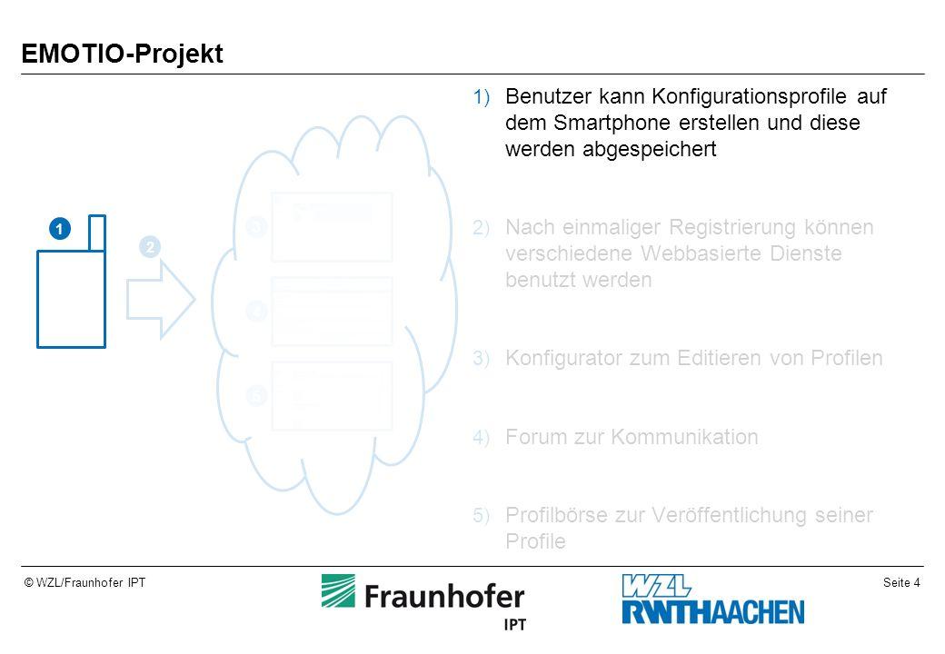 Seite 4© WZL/Fraunhofer IPT EMOTIO-Projekt 1) Benutzer kann Konfigurationsprofile auf dem Smartphone erstellen und diese werden abgespeichert 2) Nach einmaliger Registrierung können verschiedene Webbasierte Dienste benutzt werden 3) Konfigurator zum Editieren von Profilen 4) Forum zur Kommunikation 5) Profilbörse zur Veröffentlichung seiner Profile 1 2 4 5 3