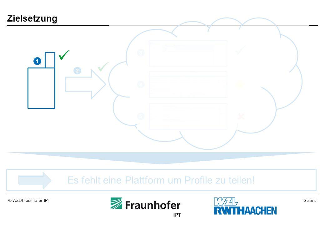 Seite 5© WZL/Fraunhofer IPT Zielsetzung Es fehlt eine Plattform um Profile zu teilen! 1 2 3 4 5
