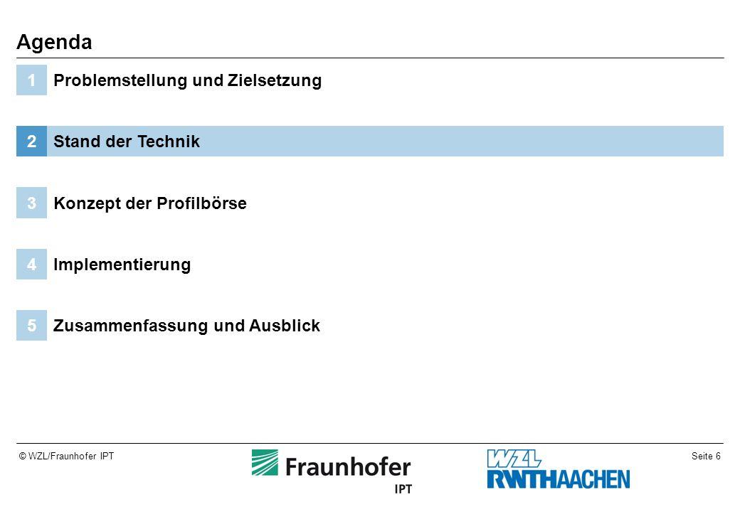 Seite 6© WZL/Fraunhofer IPT Zusammenfassung und Ausblick5 Implementierung4 Konzept der Profilbörse3 Stand der Technik2 Problemstellung und Zielsetzung1 Agenda