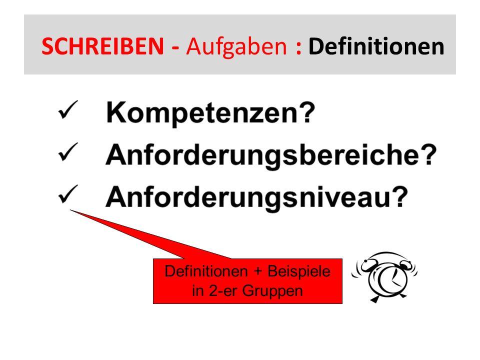 SCHREIBEN - Aufgaben : Definitionen Definitionen + Beispiele in 2-er Gruppen