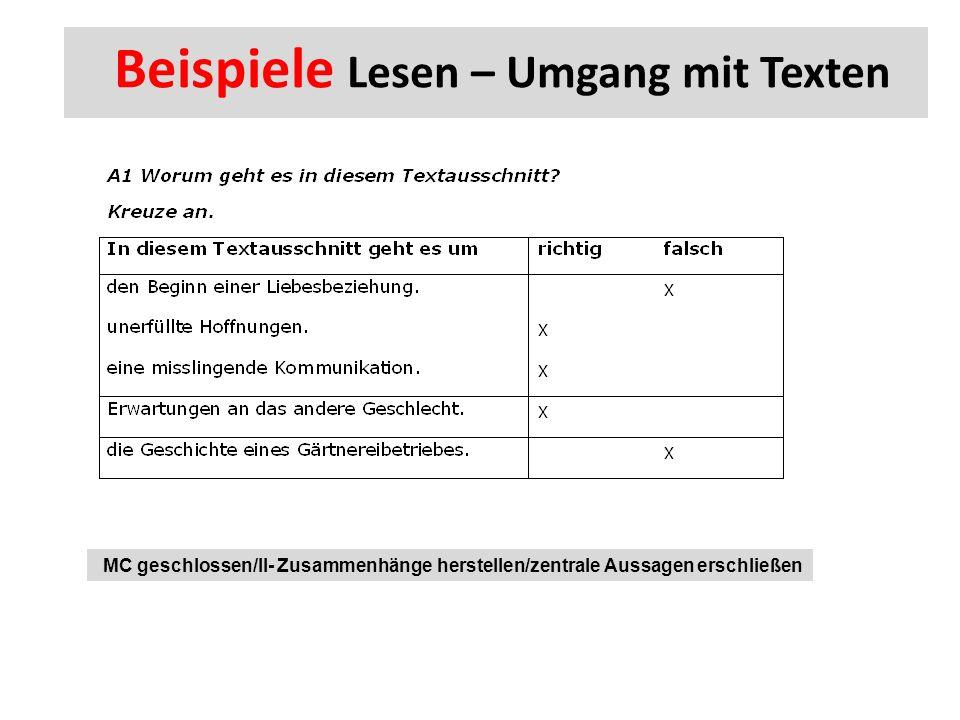 Beispiele Lesen – Umgang mit Texten MC geschlossen/II- Zusammenhänge herstellen/zentrale Aussagen erschließen