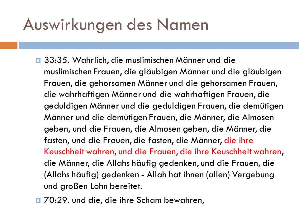 Auswirkungen des Namen  33:35.