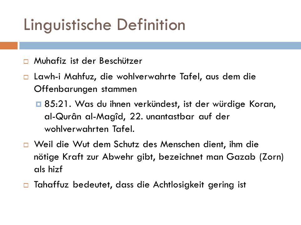 Linguistische Definition  Muhafiz ist der Beschützer  Lawh-i Mahfuz, die wohlverwahrte Tafel, aus dem die Offenbarungen stammen  85:21.