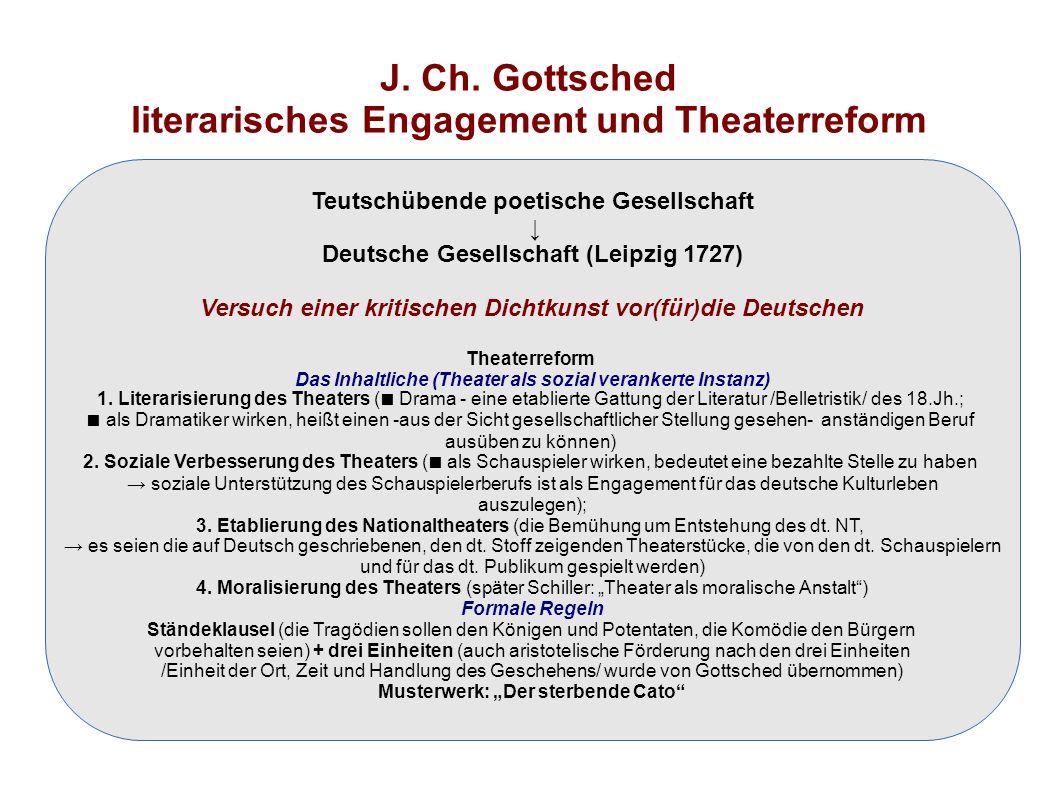 J. Ch. Gottsched literarisches Engagement und Theaterreform Teutschübende poetische Gesellschaft ↓ Deutsche Gesellschaft (Leipzig 1727) Versuch einer