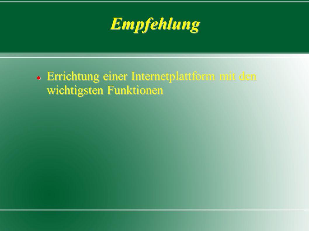 Empfehlung Errichtung einer Internetplattform mit den wichtigsten Funktionen Errichtung einer Internetplattform mit den wichtigsten Funktionen