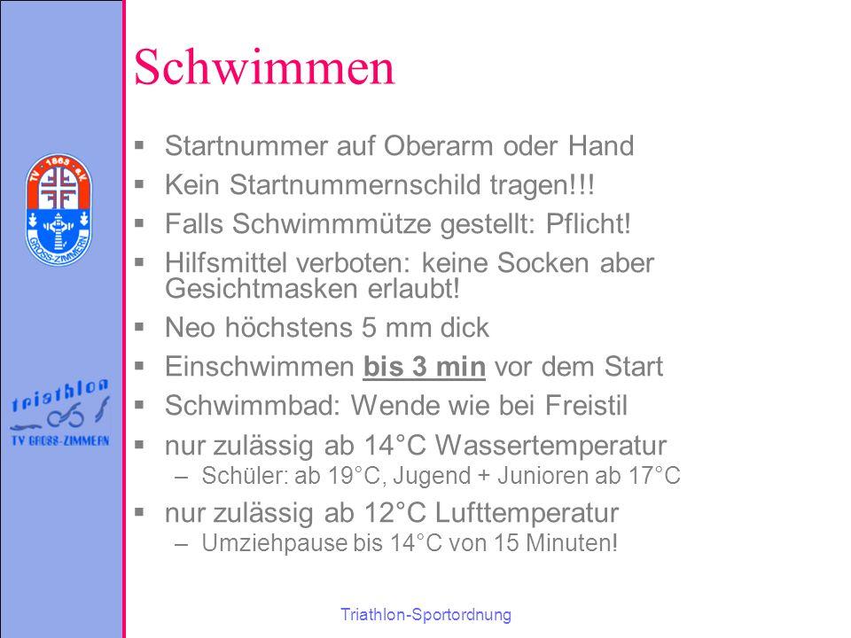 Triathlon-Sportordnung Schwimmen  Startnummer auf Oberarm oder Hand  Kein Startnummernschild tragen!!.