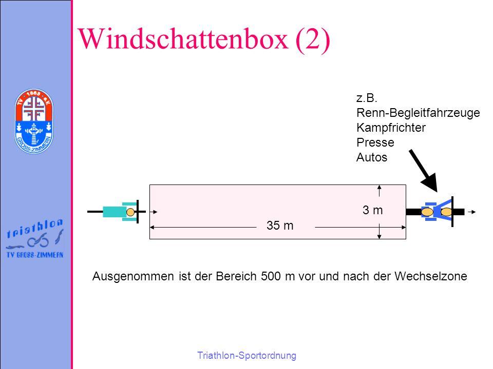 Triathlon-Sportordnung Windschattenbox (2) 3 m 35 m z.B.