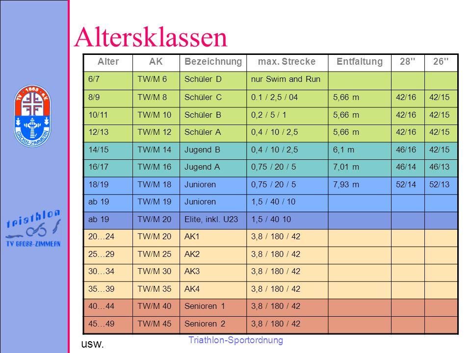Triathlon-Sportordnung Altersklassen AlterAKBezeichnungmax.