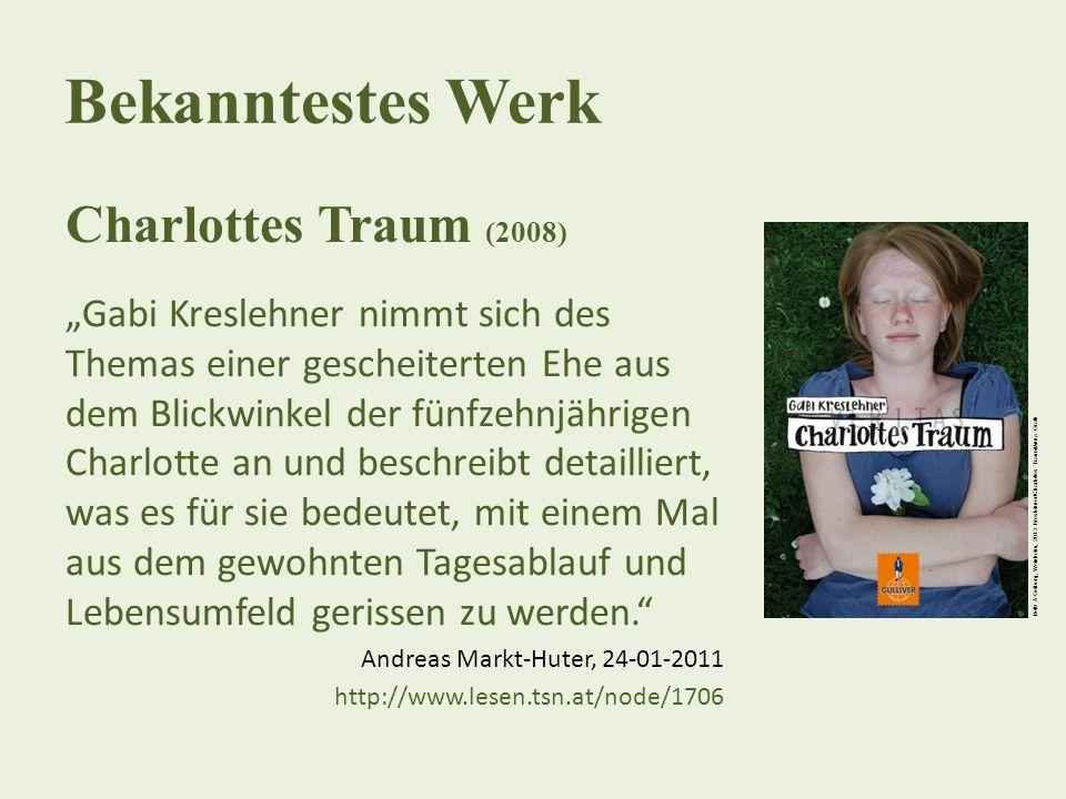 """Bekanntestes Werk Charlottes Traum (2008) """"Gabi Kreslehner nimmt sich des Themas einer gescheiterten Ehe aus dem Blickwinkel der fünfzehnjährigen Char"""