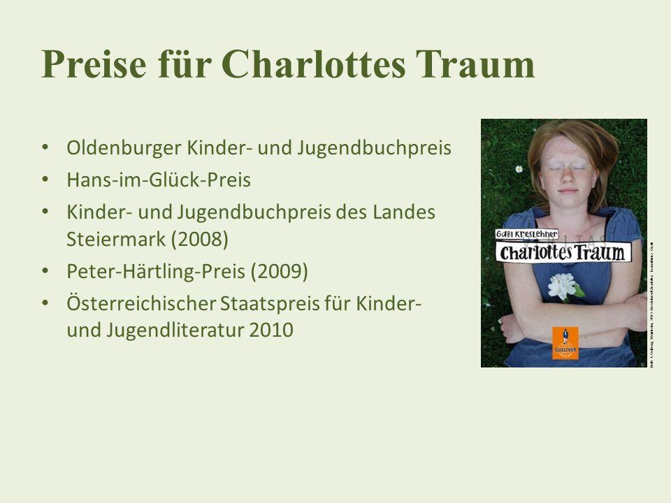 Preise für Charlottes Traum Oldenburger Kinder- und Jugendbuchpreis Hans-im-Glück-Preis Kinder- und Jugendbuchpreis des Landes Steiermark (2008) Peter