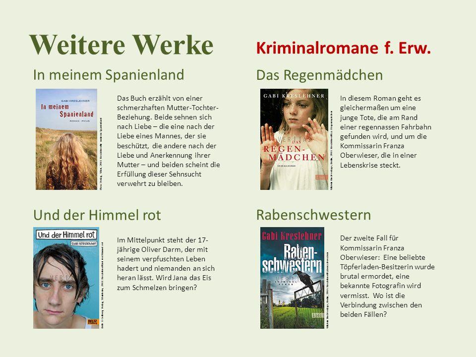 Weitere Werke In meinem Spanienland Das Buch erzählt von einer schmerzhaften Mutter-Tochter- Beziehung. Beide sehnen sich nach Liebe – die eine nach d