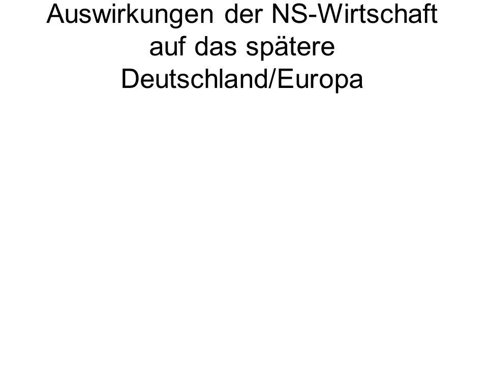 Auswirkungen der NS-Wirtschaft auf das spätere Deutschland/Europa