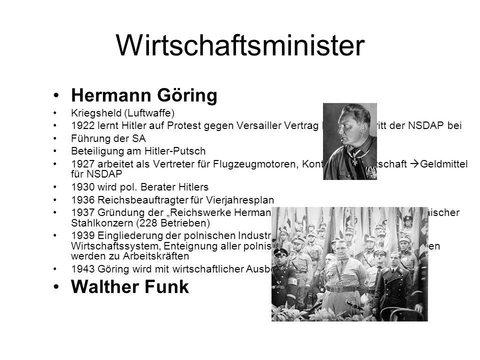 Wirtschaftsminister Hermann Göring Kriegsheld (Luftwaffe) 1922 lernt Hitler auf Protest gegen Versailler Vertrag kennen u.