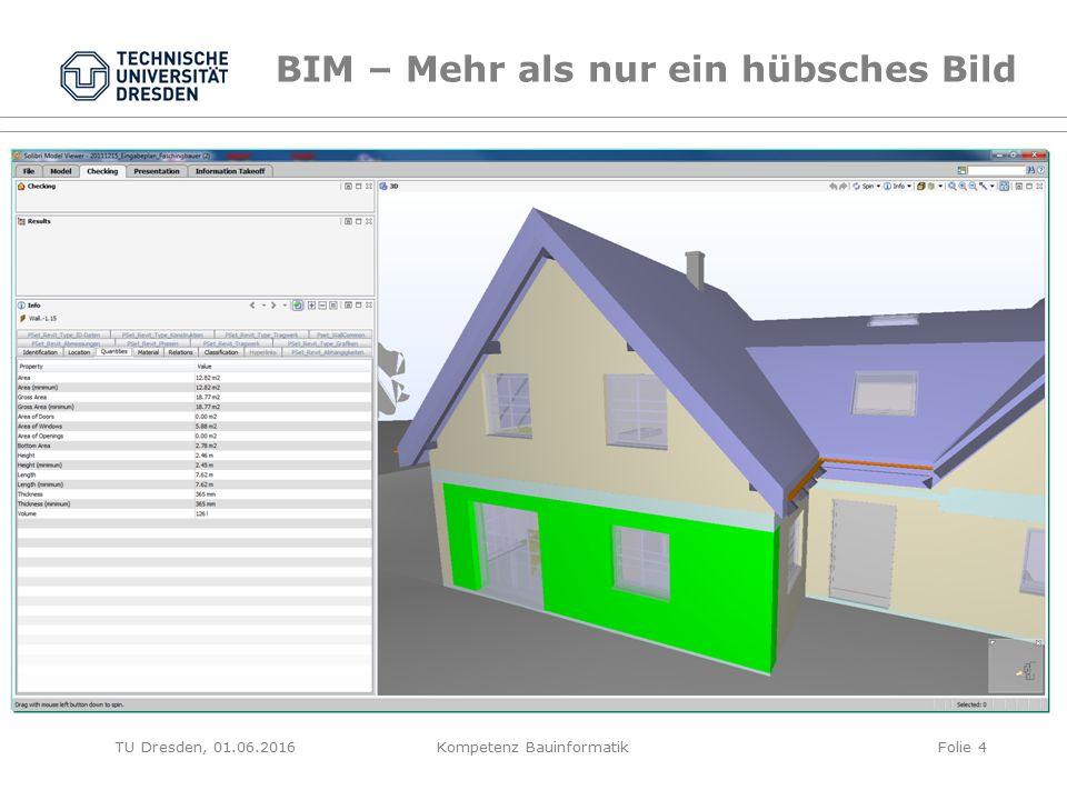 TU Dresden, 01.06.2016 BIM – Mehr als nur ein hübsches Bild Folie 4Kompetenz Bauinformatik