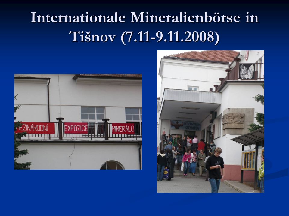 Internationale Mineralienbörse in Tišnov (7.11-9.11.2008)