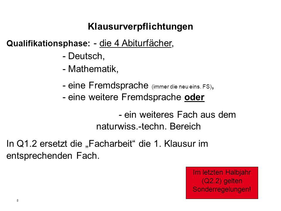 8 Klausurverpflichtungen Qualifikationsphase: - die 4 Abiturfächer, - Deutsch, - Mathematik, - eine Fremdsprache (immer die neu eins.