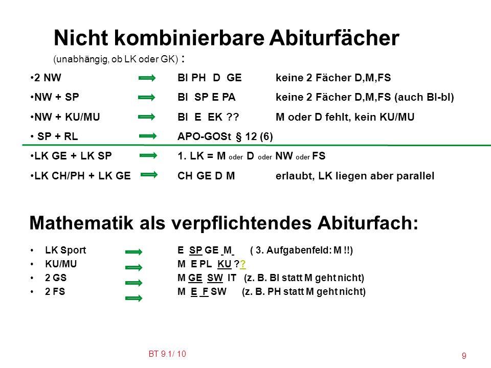 Mathematik als verpflichtendes Abiturfach: LK SportE SP GE M ( 3.