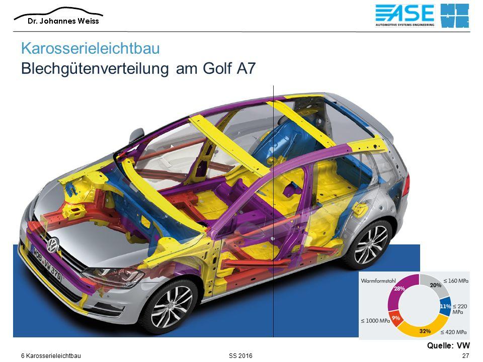 SS 20166 Karosserieleichtbau27 Quelle: VW Karosserieleichtbau Blechgütenverteilung am Golf A7