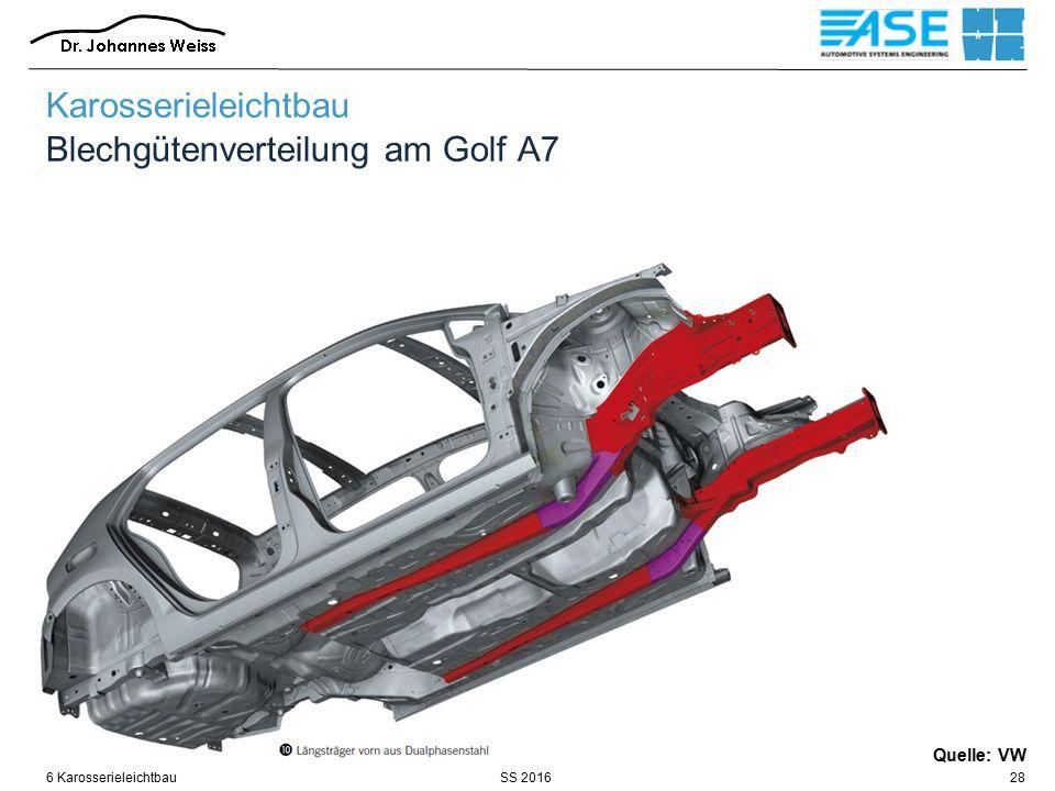 SS 20166 Karosserieleichtbau28 Quelle: VW Karosserieleichtbau Blechgütenverteilung am Golf A7