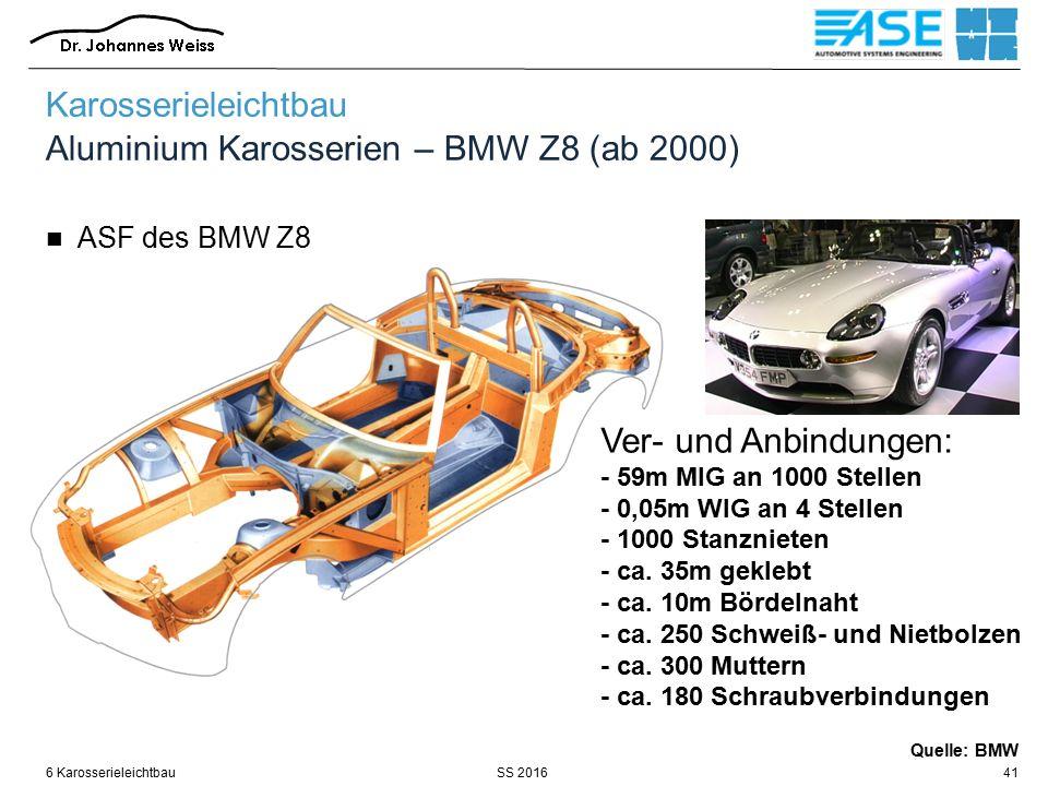 SS 20166 Karosserieleichtbau41 Ver- und Anbindungen: - 59m MIG an 1000 Stellen - 0,05m WIG an 4 Stellen - 1000 Stanznieten - ca.