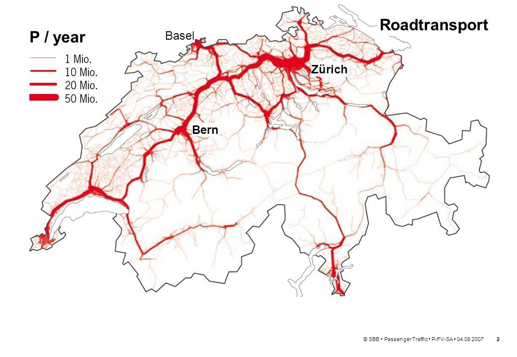 © SBB Passenger Traffic P-FV-SA 04.09.20073 Basel Zürich Bern Public Transport P / year