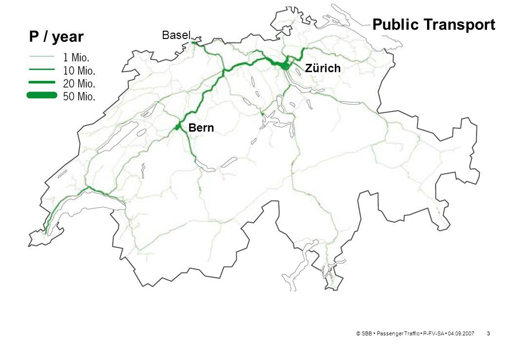 © SBB Passenger Traffic P-FV-SA 04.09.20074 Zürich Bern 0 2000 4000 6000 8000 10000 12000 14000 NS (NL) SBB (CH) FS (I) DSB (DK) SNCF (F) SNCB (B) DB AG (D) RENFE (E) ÖBB (A) CFL (LUX) CD (CS) Europe's second highest number of passengers per day and per kilometre of route: Basel