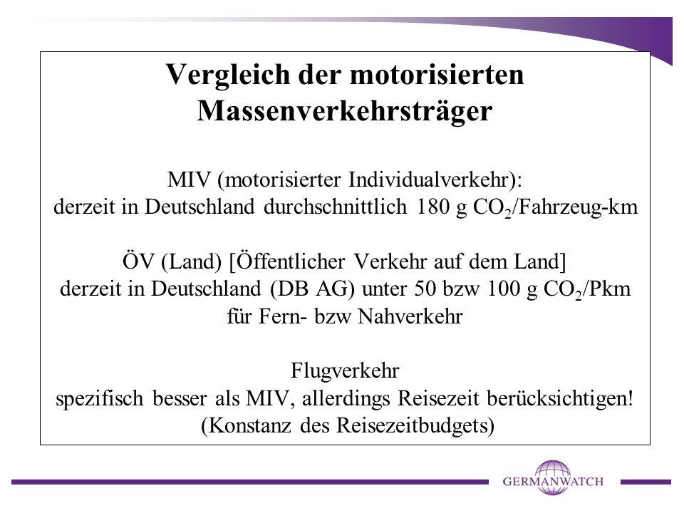 Vergleich der motorisierten Massenverkehrsträger MIV (motorisierter Individualverkehr): derzeit in Deutschland durchschnittlich 180 g CO 2 /Fahrzeug-k