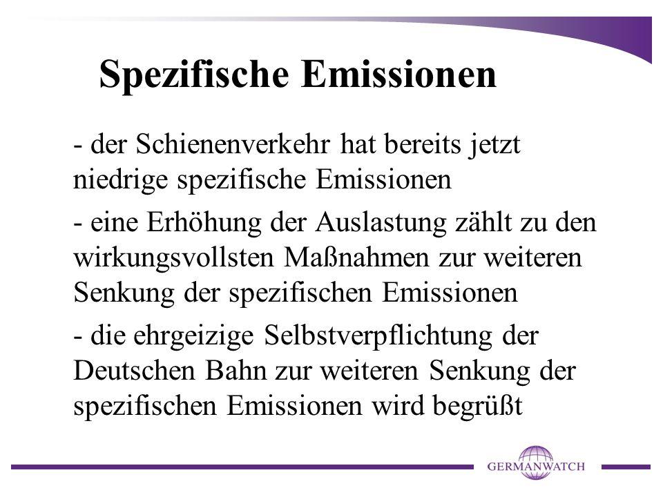 Spezifische Emissionen - der Schienenverkehr hat bereits jetzt niedrige spezifische Emissionen - eine Erhöhung der Auslastung zählt zu den wirkungsvol