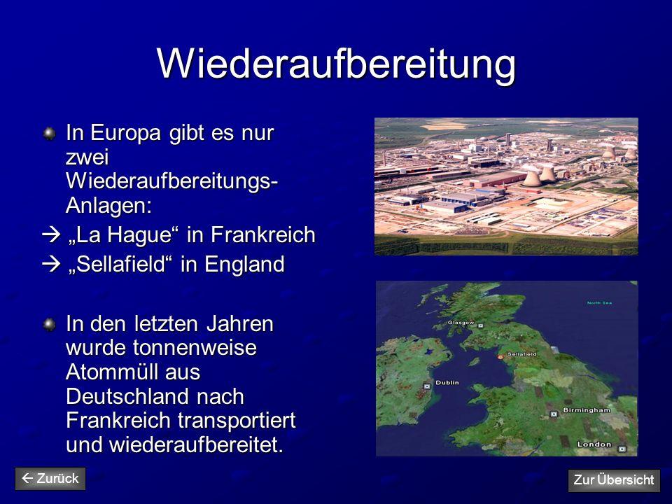 """Wiederaufbereitung In Europa gibt es nur zwei Wiederaufbereitungs- Anlagen:  """"La Hague"""" in Frankreich  """"Sellafield"""" in England In den letzten Jahren"""