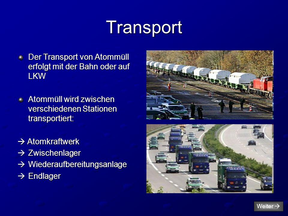 Transport Der Transport von Atommüll erfolgt mit der Bahn oder auf LKW Atommüll wird zwischen verschiedenen Stationen transportiert:  Atomkraftwerk 