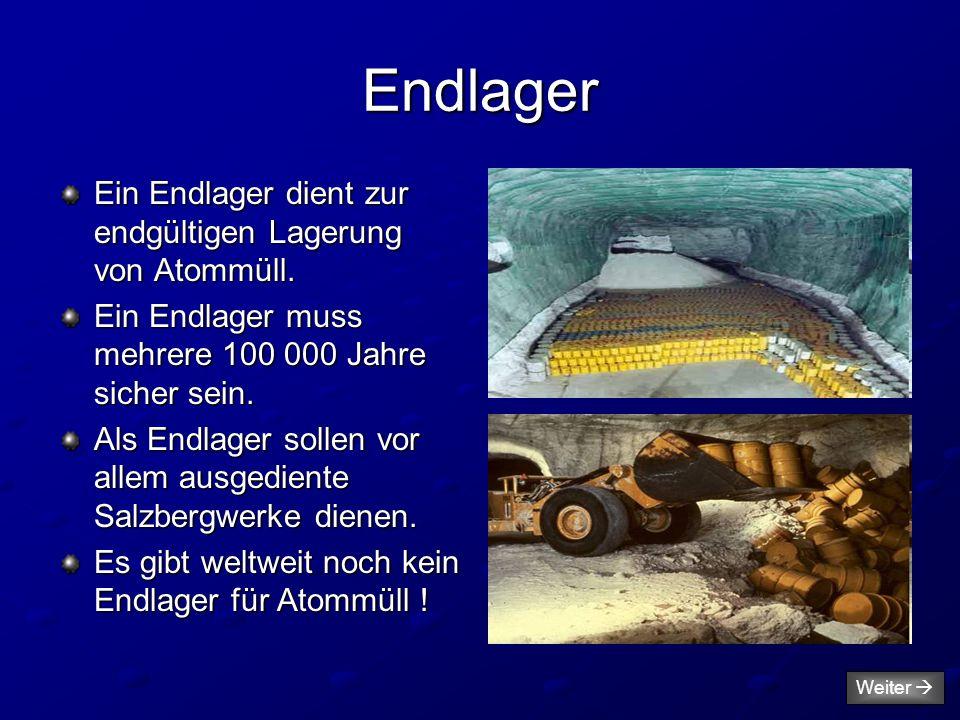 Endlager Ein Endlager dient zur endgültigen Lagerung von Atommüll. Ein Endlager muss mehrere 100 000 Jahre sicher sein. Als Endlager sollen vor allem