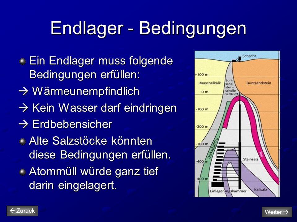 Endlager - Bedingungen Ein Endlager muss folgende Bedingungen erfüllen:  Wärmeunempfindlich  Kein Wasser darf eindringen  Erdbebensicher Alte Salzs