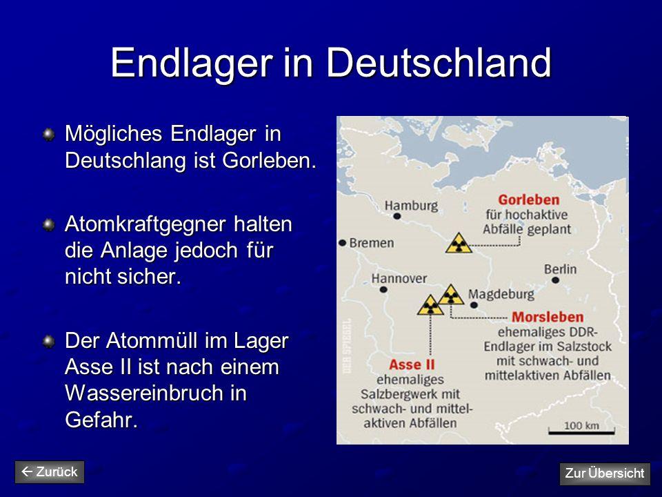 Endlager in Deutschland Mögliches Endlager in Deutschlang ist Gorleben. Atomkraftgegner halten die Anlage jedoch für nicht sicher. Der Atommüll im Lag