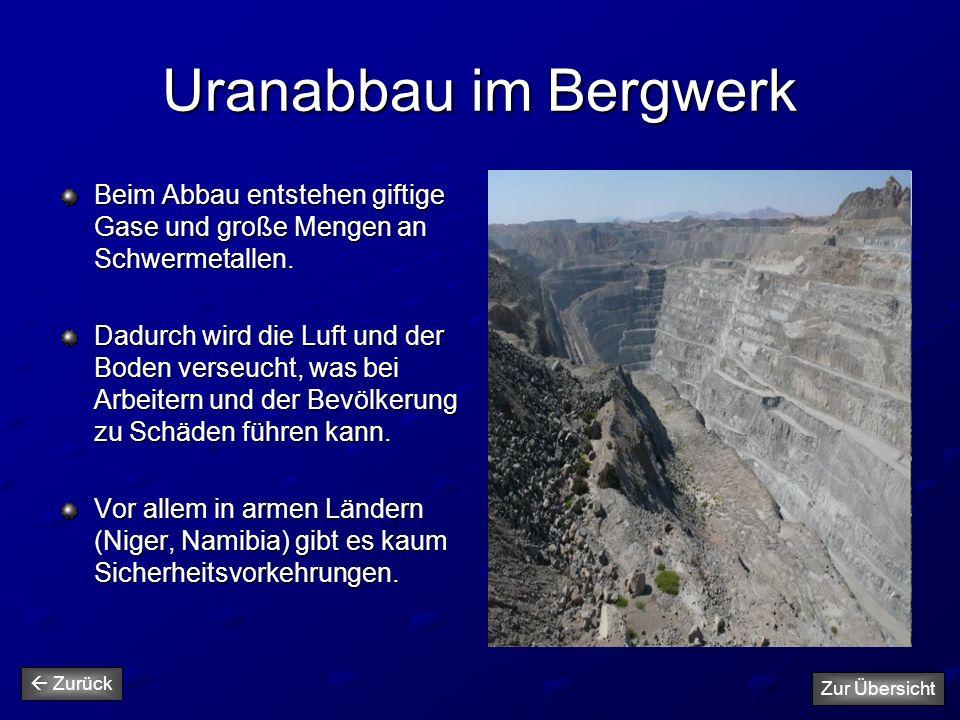 Uranabbau im Bergwerk Beim Abbau entstehen giftige Gase und große Mengen an Schwermetallen. Dadurch wird die Luft und der Boden verseucht, was bei Arb