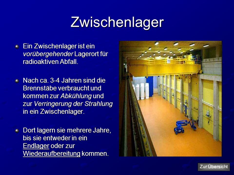 Zwischenlager Ein Zwischenlager ist ein vorübergehender Lagerort für radioaktiven Abfall. Nach ca. 3-4 Jahren sind die Brennstäbe verbraucht und komme