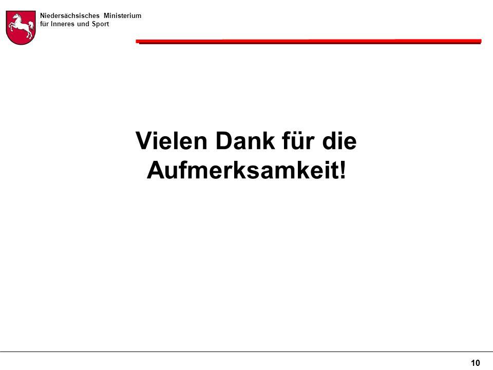 Niedersächsisches Ministerium für Inneres und Sport 10 Vielen Dank für die Aufmerksamkeit!