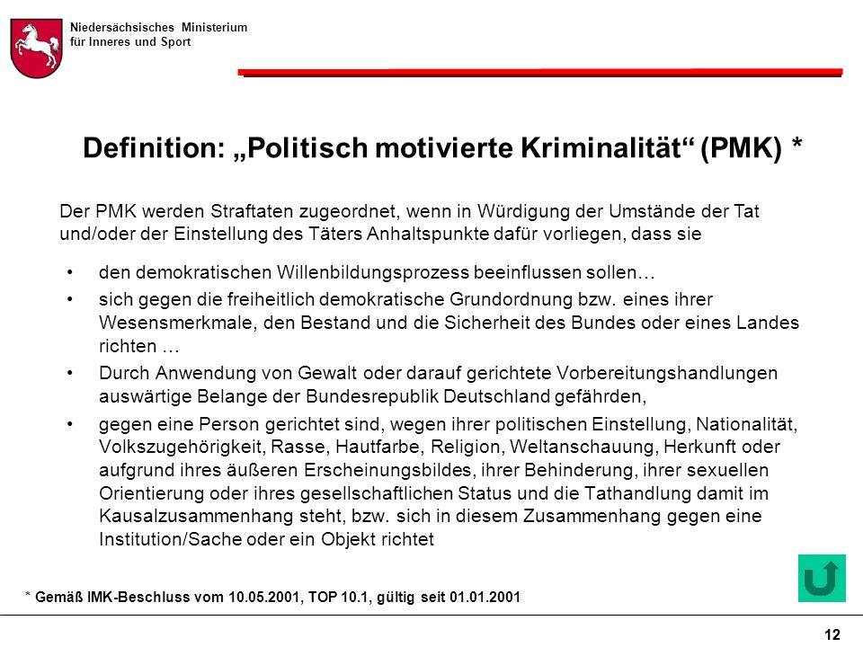 """Niedersächsisches Ministerium für Inneres und Sport 12 Definition: """"Politisch motivierte Kriminalität (PMK) * den demokratischen Willenbildungsprozess beeinflussen sollen… sich gegen die freiheitlich demokratische Grundordnung bzw."""
