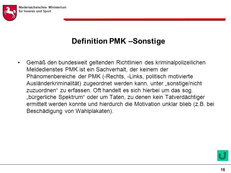 """Niedersächsisches Ministerium für Inneres und Sport 15 Definition PMK –Sonstige Gemäß den bundesweit geltenden Richtlinien des kriminalpolizeilichen Meldedienstes PMK ist ein Sachverhalt, der keinem der Phänomenbereiche der PMK (-Rechts, -Links, politisch motivierte Ausländerkriminalität) zugeordnet werden kann, unter """"sonstige/nicht zuzuordnen zu erfassen."""