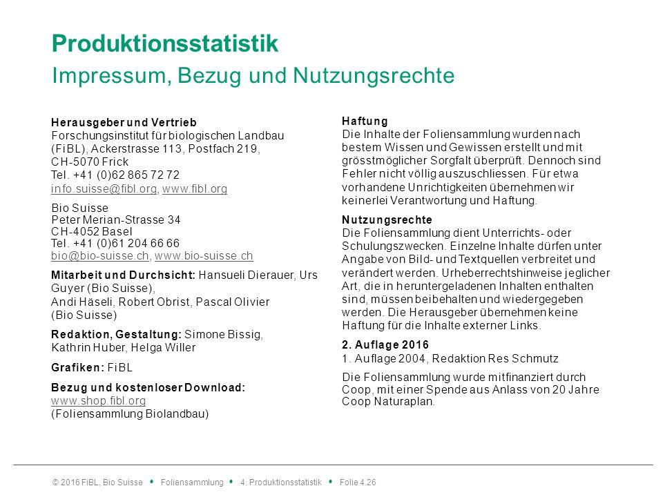 Produktionsstatistik Impressum, Bezug und Nutzungsrechte Herausgeber und Vertrieb Forschungsinstitut für biologischen Landbau (FiBL), Ackerstrasse 113, Postfach 219, CH-5070 Frick Tel.