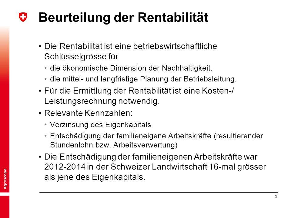 3 Beurteilung der Rentabilität Die Rentabilität ist eine betriebswirtschaftliche Schlüsselgrösse für die ökonomische Dimension der Nachhaltigkeit.