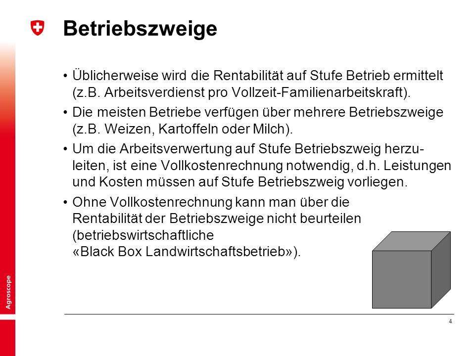 4 Betriebszweige Üblicherweise wird die Rentabilität auf Stufe Betrieb ermittelt (z.B.