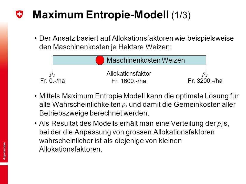 8 Maximum Entropie-Modell (1/3) Der Ansatz basiert auf Allokationsfaktoren wie beispielsweise den Maschinenkosten je Hektare Weizen: Mittels Maximum Entropie Modell kann die optimale Lösung für alle Wahrscheinlichkeiten p i und damit die Gemeinkosten aller Betriebszweige berechnet werden.