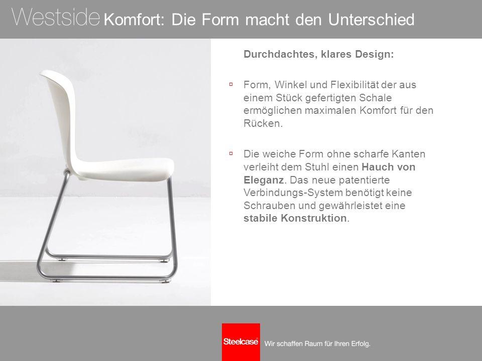 Komfort: Die Form macht den Unterschied Durchdachtes, klares Design:  Form, Winkel und Flexibilität der aus einem Stück gefertigten Schale ermögliche