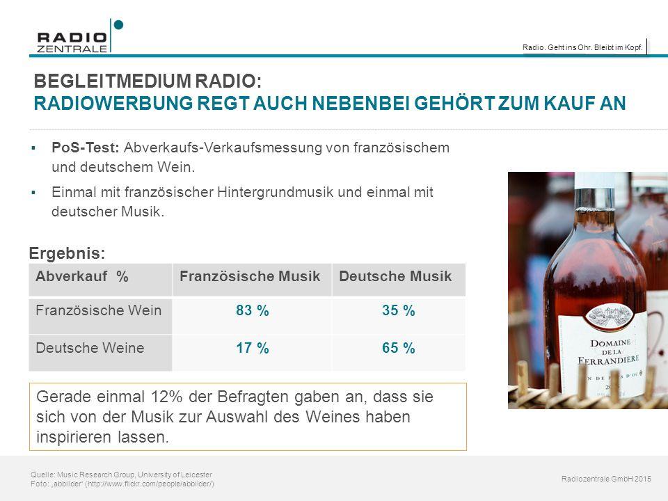 """Radio. Geht ins Ohr. Bleibt im Kopf. Radiozentrale GmbH 2015 Quelle: Music Research Group, University of Leicester Foto: """"abbilder"""" (http://www.flickr"""