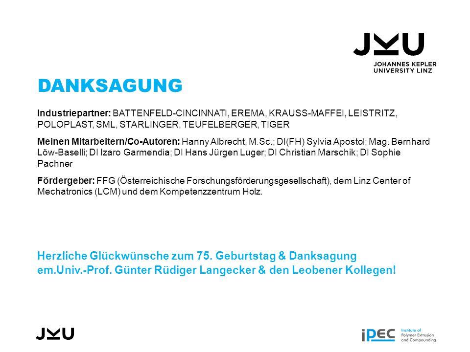 DANKSAGUNG Industriepartner: BATTENFELD-CINCINNATI, EREMA, KRAUSS-MAFFEI, LEISTRITZ, POLOPLAST, SML, STARLINGER, TEUFELBERGER, TIGER Meinen Mitarbeitern/Co-Autoren: Hanny Albrecht, M.Sc.; DI(FH) Sylvia Apostol; Mag.
