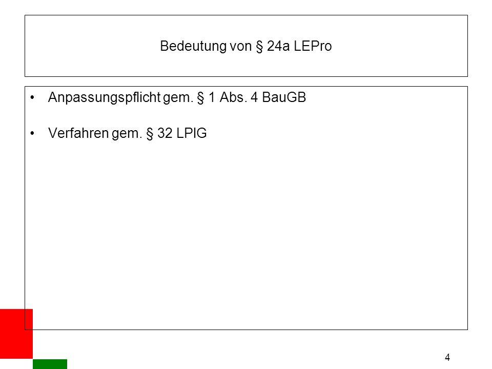 4 Bedeutung von § 24a LEPro Anpassungspflicht gem. § 1 Abs. 4 BauGB Verfahren gem. § 32 LPlG