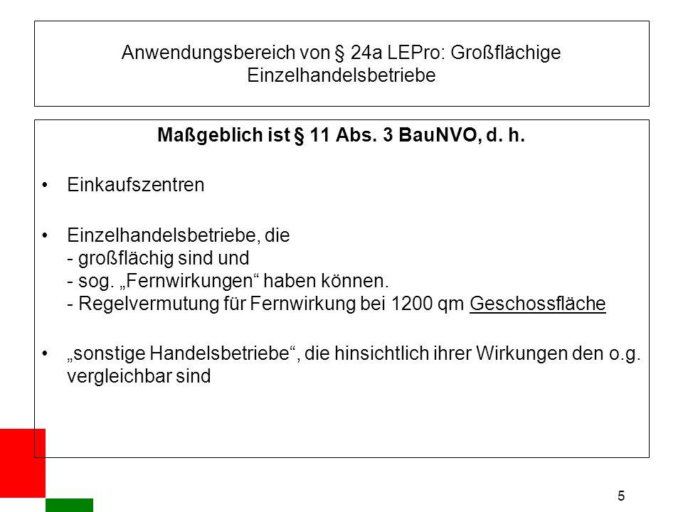 5 Anwendungsbereich von § 24a LEPro: Großflächige Einzelhandelsbetriebe Maßgeblich ist § 11 Abs.