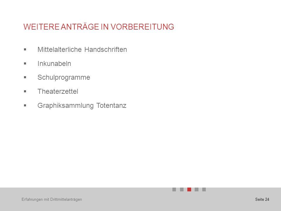 Seite 24  Mittelalterliche Handschriften  Inkunabeln  Schulprogramme  Theaterzettel  Graphiksammlung Totentanz WEITERE ANTRÄGE IN VORBEREITUNG Erfahrungen mit Drittmittelanträgen