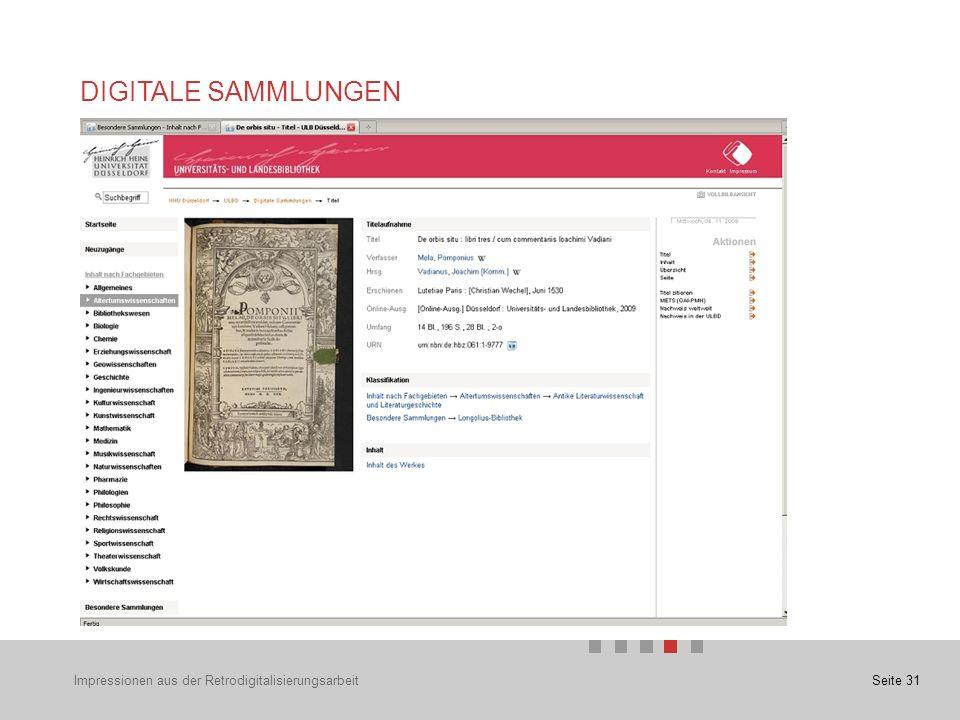 Seite 31 DIGITALE SAMMLUNGEN Impressionen aus der Retrodigitalisierungsarbeit