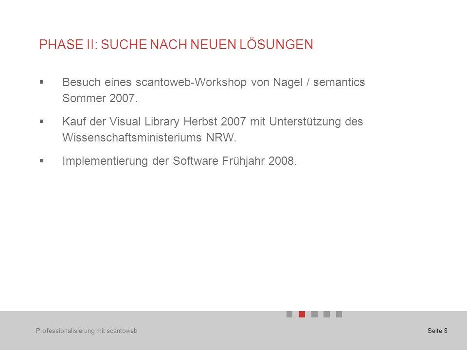 Seite 8 PHASE II: SUCHE NACH NEUEN LÖSUNGEN  Besuch eines scantoweb-Workshop von Nagel / semantics Sommer 2007.
